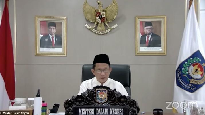 Menteri Dalam Negeri (Mendagri) Muhammad Tito Karnavian saat Konferensi Pers Perpanjangan dan Perluasan Pemberlakuan Pembatasan Kegiatan Masyarakat (PPKM) Mikro (Tangkapan Layar)