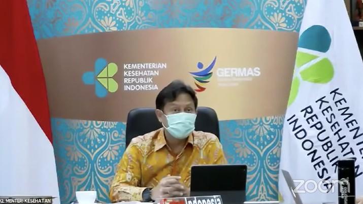 Menteri Kesehatan (Menkes) Budi Gunadi Sadikin saat Konferensi Pers Perpanjangan dan Perluasan Pemberlakuan Pembatasan Kegiatan Masyarakat (PPKM) Mikro. (Tangkapan Layar)
