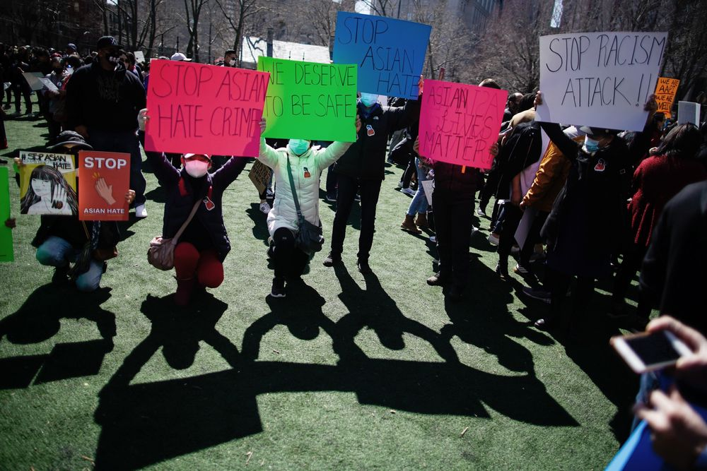 People take part in a rally against hate and confront the rising violence against Asian Americans at Columbus Park in the Chinatown section of Manhattan borough of New York, on Sunday, March 21, 2021.  (AP Photo/Eduardo Munoz Alvarez)