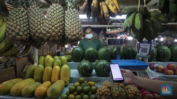 ilustrasi Pembayaran Digital di Pasar Tradisional (CNBC Indonesia/Andrean Kristianto)