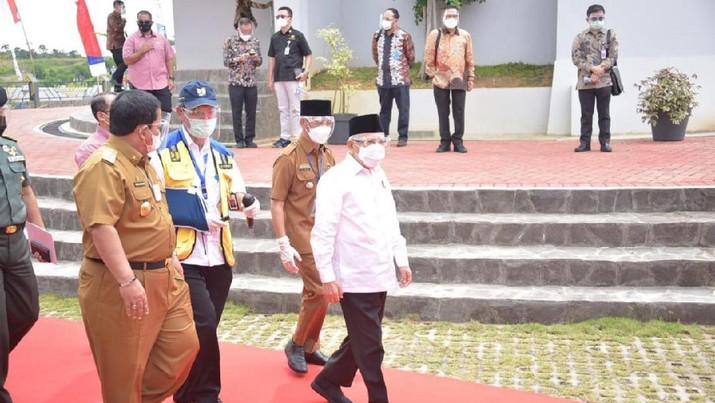 Wapres Ma'ruf Amin Tinjau Progres Bendungan Way Sekampung Lampung, Ditargetkan Impounding Juli 2021. (PUPR)