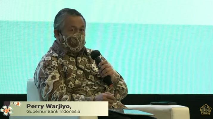 Gubernur Bank Indonesia Perry Warjiyo dalam Acara Temu Stakeholder Untuk Percepatan Pemulihan Ekonomi Nasional. (Tangkapan Layar Youtube Kemenkeu RI)