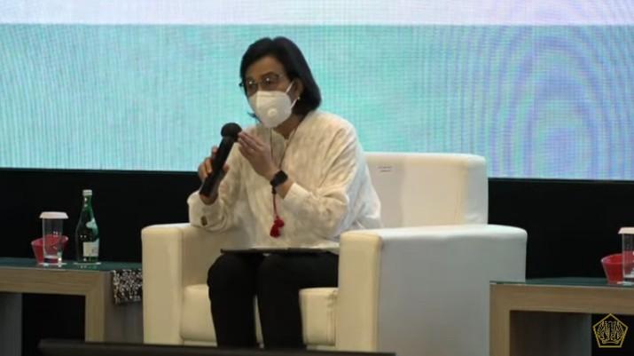 Menteri Keuangan Sri Mulyani Indrawati dalam Acara Temu Stakeholder Untuk Percepatan Pemulihan Ekonomi Nasional. (Tangkapan Layar Youtube Kemenkeu RI)