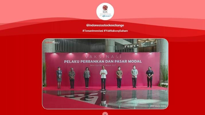 Jokowi Tinjau Vaksinasi Pelaku Perbankan dan Pasar Modal (Ist BEI)