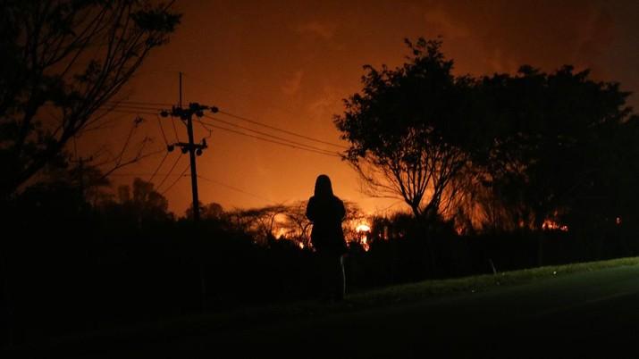 kebakaran kilang minyak Balongan Pertamina Indramayu (CNBC Indonesia/Andrean Kristianto)