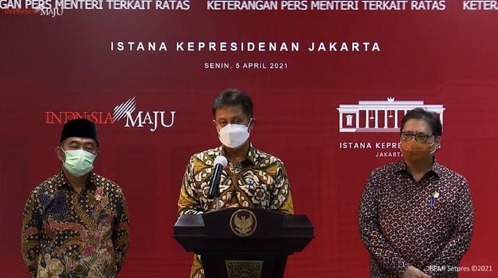 Menteri Kesehatan Budi Gunadi Sadikin Saat Memberikan Keterangan Pers Para Menteri terkait Rapat Terbatas (Tangkapan Layar Youtube Sekretariat Presiden)