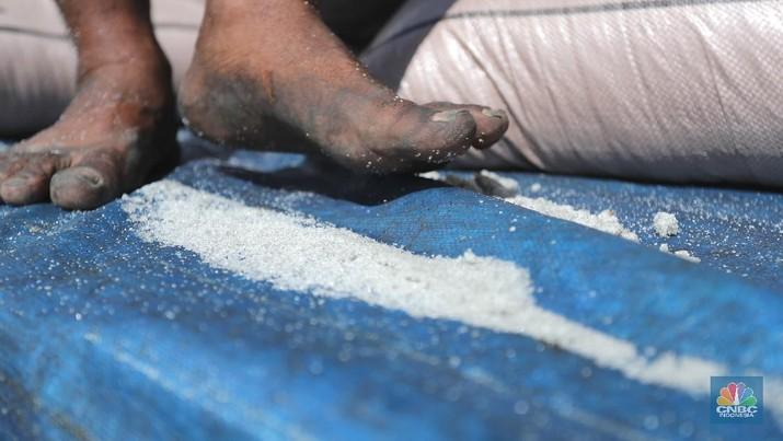 Pekerja munurunkan gula pasir dari kapal India sebanyak 23 ribu ton di Pelabuhan Tanjung Priok, Jakarta, Selasa (6/4/2021). Gula tersebut ditargetkan mulai mengisi pasar konsumsi menjelang bulan puasa dan lebaran agar dapat memenuhi lonjakan permintaan. CNBC Indonesia/ Tri Susilo)