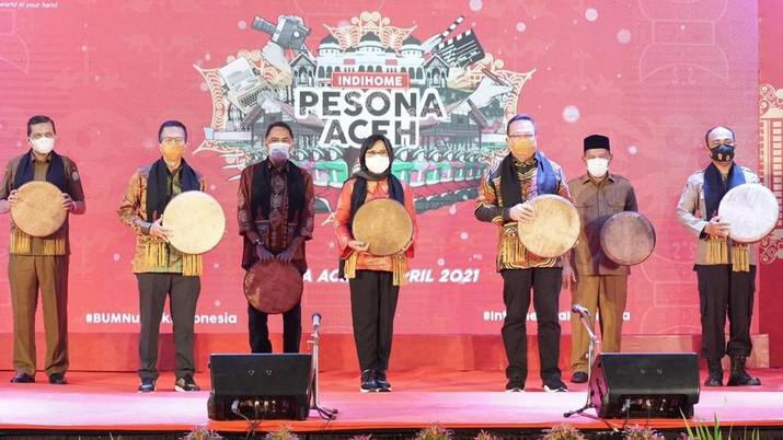 """Peluncuran """"IndiHome Pesona Aceh"""" Senin (5/4/2021). (Foto: Telkom Indonesia)"""
