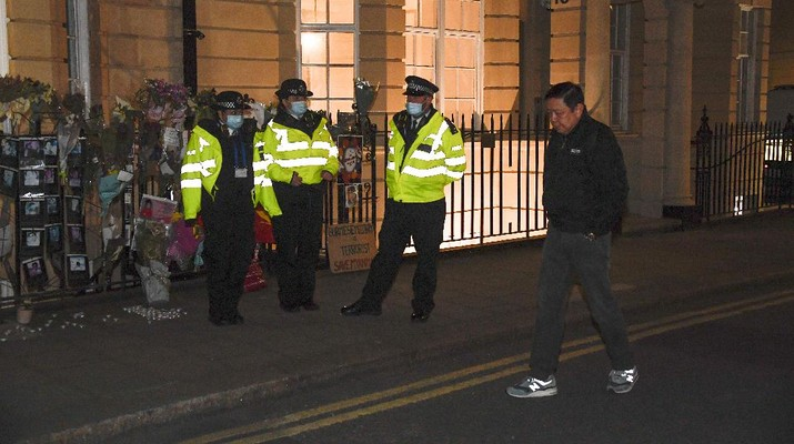 Kyaw Zwar Minn, the Myanmar ambassador, walks outside the Myanmar Embassy in London, Wednesday, April 7, 2021. Newspaper reports say the embassy was taken over by members of the country's new military regime Wednesday evening. (AP Photo/Alberto Pezzali)