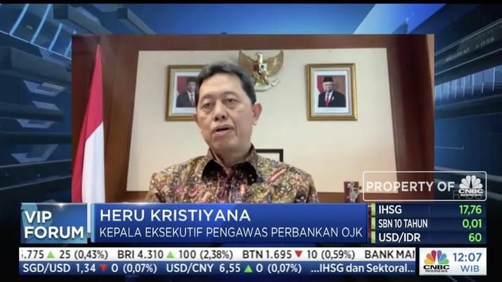 Kepala Eksekutif Pengawas Perbankan Otoritas Jasa Keuangan (OJK), Heru Kristiyana dalam acara VIP Forum bertajuk