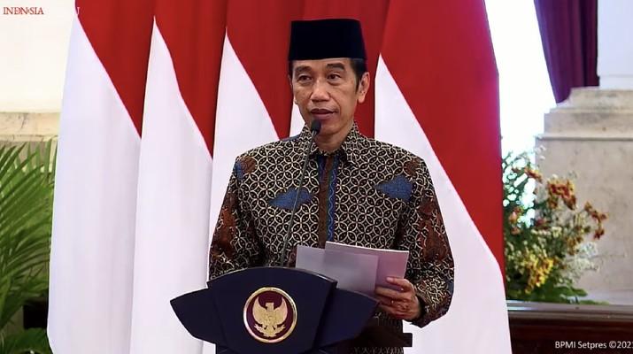 Presiden Joko Widodo Saat Pembukaan Musyawarah Kerja Nasional dan Musyawarah Nasional Alim Ulama PKB, 8 April 2021 (Tangkapan Layar Youtube Sekretariat Presiden)