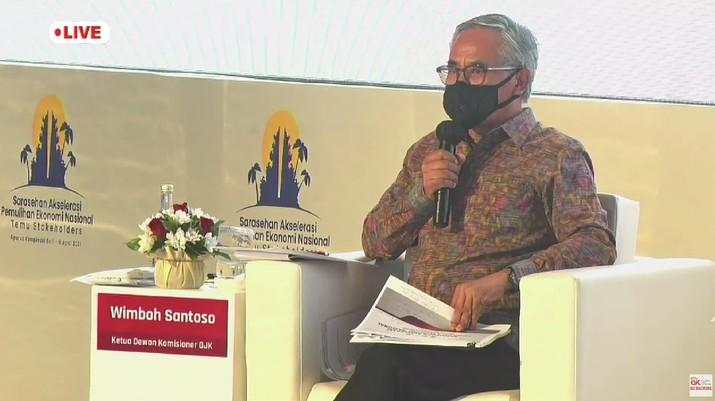 Ketua Dewan Komisioner Otoritas Jasa Keuangan (OJK) Wimboh Santoso dalam acara Sarasehan Akselerasi Pemulihan Ekonomi Nasional (tangkapan Layar Youtube Jasa Keuangan)