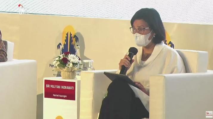 Menteri Keuangan Sri Mulyani dalam acara Sarasehan Akselerasi Pemulihan Ekonomi Nasional (tangkapan Layar Youtube Jasa Keuangan)