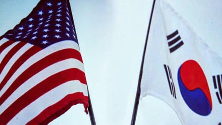Bendera Amerika Serikat dan Korea Selatan. AP/