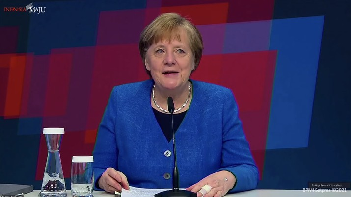 Kanselir Jerman dalam acara pembukaan Hannover Messe 2021, Istana Negara, 12 April 2021. (Tangkapan layar Setpres RI)