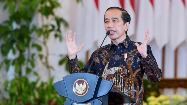 Presiden Joko Widodo menyampaikan sejumlah arahan kepada para kepala daerah dalam Rapat Koordinasi Kepala Daerah Tahun 2021 yang digelar secara virtual pada Rabu, 14 April 2021. Dok: Muchlis Jr - Biro Pers Sekretariat Presiden