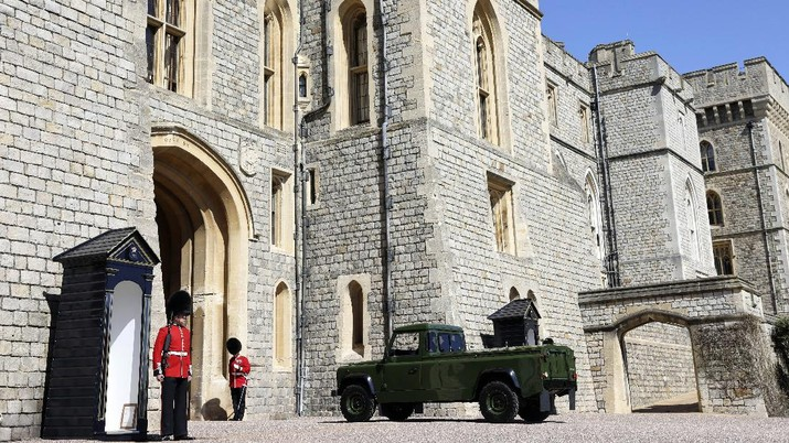 The Land Rover hearse is seen outside Windsor Castle, Windsor, England, Saturday April 17, 2021, before the funeral of Britain's Prince Philip. Prince Philip died April 9 at the age of 99 after 73 years of marriage to Britain's Queen Elizabeth II. (Tim Merry/Pool Photo via AP)