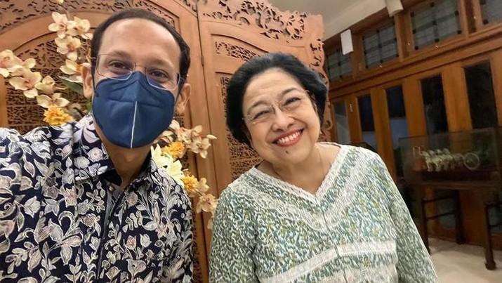 Nadiem Makarim bertemu dengan Megawati. (Dok. Instagram/nadiemmakarim)
