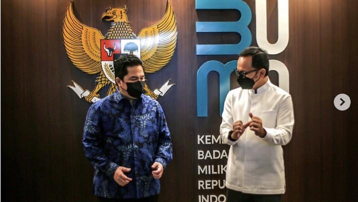 pertemuan dengan Menteri BUMN Erick Thohir untuk membahas rencana pengembangan moda transportasi di Kota Bogor./Instagram : @bimaaryasugiarto