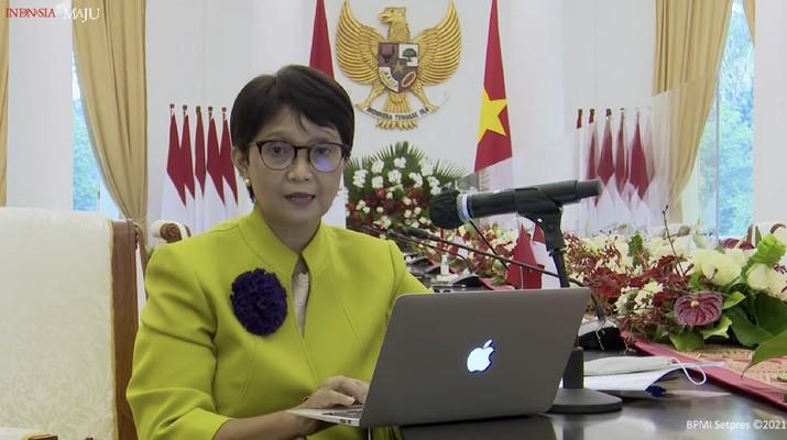 Keterangan Pers Menteri Luar Negeri, Retno Marsudi. (Tangkapan Layar Youtube Sekretariat Presiden)