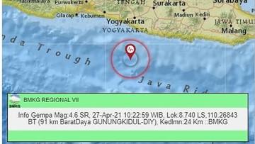 Gempa M 4 6 Terjadi Di Jogja Siang Ini