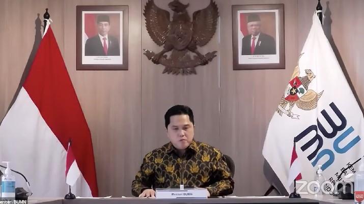 Menteri BUMN Erick Thohir dalam Rapat Koordinasi Pembangunan Pusat 2021 (Tangkapan Layar Youtube Bappenas RI)