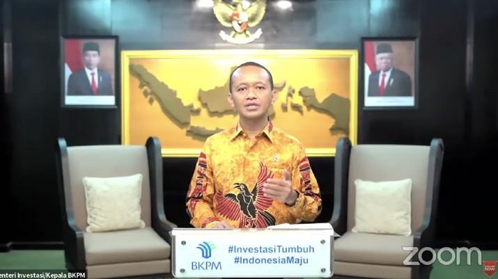 Menteri Investasi, Bahlil Lahadalia dalam Rapat Koordinasi Pembangunan Pusat 2021 (Tangkapan Layar Youtube Bappenas RI)