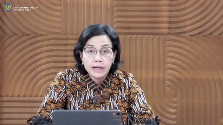 Menteri Keuangan Sri Mulyani memberikan keterangan pers mengenai THR dan Gaji ke-13 (Tangkapan Layar Youtube Kemenkeu RI)