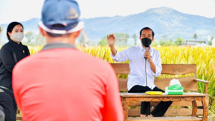 Presiden Joko Widodo secara langsung meninjau panen dan tanam padi di Desa Kanigoro, Kecamatan Pagelaran, Kabupaten Malang, dalam kunjungan kerjanya di Provinsi Jawa Timur pada Kamis, 29 April 2021.  (Biro Pers Sekretariat Presiden/Laily Rachev)