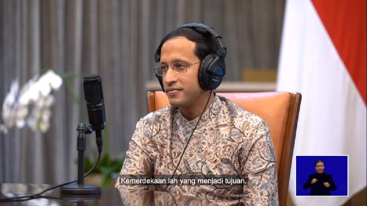 Podcast Hardiknas 2021 Presiden Jokowi dan Mas Menteri Nadiem Makarim, 2 Mei 2021. (Tangkapan Layar Youtube Sekretariat Presiden RI)