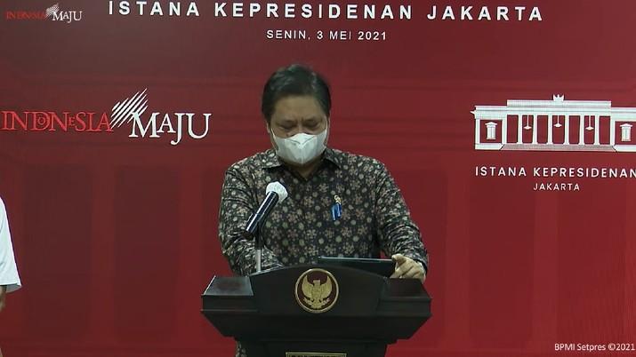 Keterangan Pers Menko Perekonomian, Menteri Kesehatan, dan Kepala BNPB, 3 Mei 2021. (Dok: Tangkapan Layar Youtube Setpres RI)
