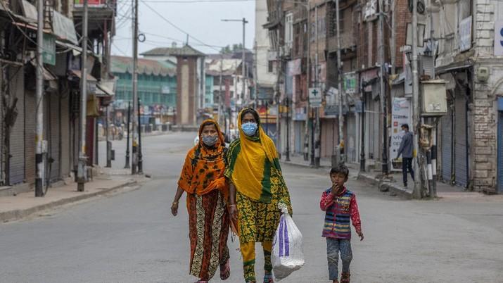 Suasana Kashmir India lockdown. (AP/Dar Yasin)
