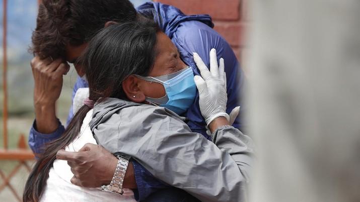 Pandemi Covid di Nepal. (AP/Niranjan Shrestha)