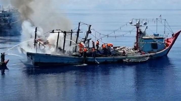 Kapal Terbakar di Laut Natuna Utara (Ist)