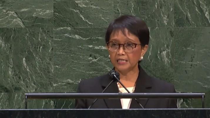 Pernyataan Menlu RI Retno Marsudi dalam Pertemuan Majelis Umum PBB mengenai Palestina. (tangkapan Layar Youtube MoFA Indonesia)