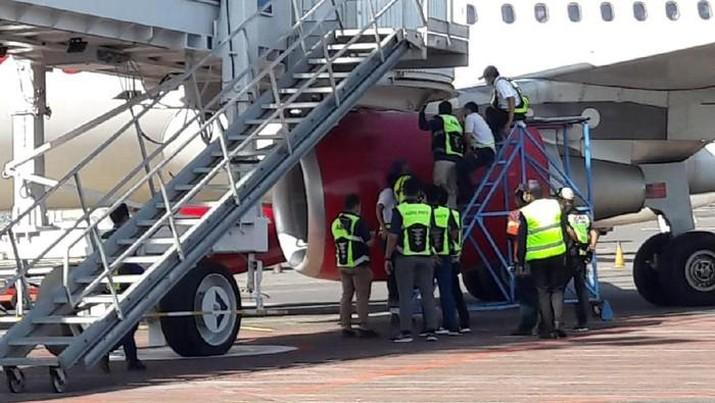 Pesawat Batik Air menabrak garbarata di Bandara Ngurah Rai Bali terjadi pada Sabtu (22/5) pukul 09.30 WITA. (Dok. Bandara Ngurah Rai)
