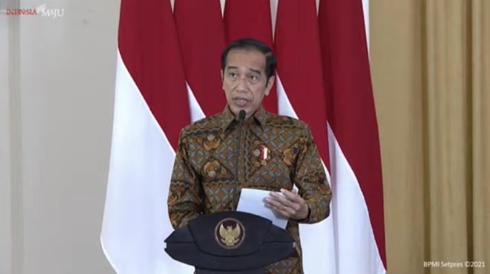 Jokowi dalam acara peresmian pembukaan rapat koordinasi nasional pengawasan Intern Pemerintah Tahun 2021. (Tangkapan layar Youtube Setpres RI)