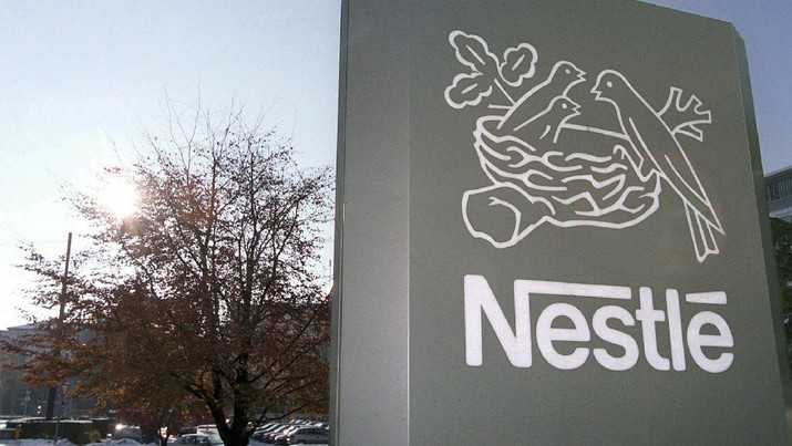FILES --- Logo of Nestle SA, the world's largest food company, at their headquarters in Vevey, Switzerland, Nov. 24, 1999. Nestle SA, the world's biggest food and drink company, said Thursday that sales for the first nine months fell 2.2 percent as the strong Swiss franc and weakened demand hurt overall performance. (AP Photo/Keystone, Laurent Gillieron)