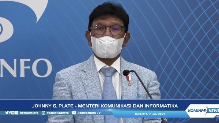 Menteri Komunikasi dan Informatika Johnny G Plate (Tangkapan Layar Youtube Kemkominfo TV)