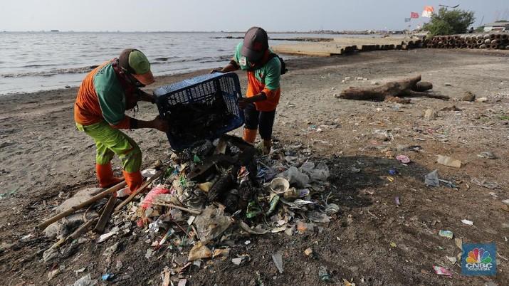 Pekerja Dinas Lingkungan Hidup membersihkan Pantai Cilincing di Jakarta, Selasa (8/6/2021). Pada 8 Juni diperingati sebagai Hari Laut Sedunia, peringatan ini dilakukan sebagai bentuk perhatian akan pentingnya ekosistem laut yang selama ini menjadi sumber daya yang dibutuhkan manusia. Menurut sejarahnya, Hari Laut dimulai sejak 1992. Mengutip dari lama resmi World Oceana Day, deklarasi ini dilakukan di Rio de Janeiro, Brazil yang digagas dalam Konferensi Perserikatan Bangsa-Bangsa tentang Lingkungan Hidup dan Pembangunan (UNCAD)  (CNBC Indonesia/ Tri Susilo)