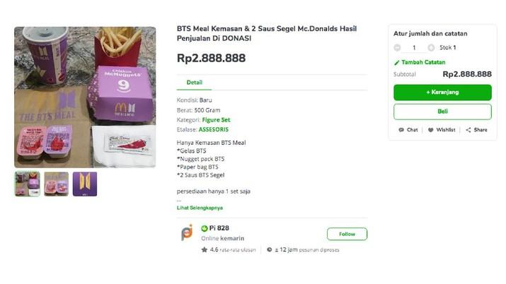 Penjual dengan nama akun Pi 828 menjual kembali kemasan BTS Mealnya dengan harga Rp. Rp 2.888.888 di Tokopedia, namun dalam judul produknya penjual menuliskan hasil penjualan untuk didonasikan. (Tokopedia/ Pi 828)