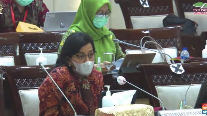 Menteri Keuangan Sri Mulyani Rapat Kerja dengan Komisi XI DPR RI terkait Pembahasan Pagu Indikatif Kementerian Keuangan dalam RAPBN 2022, Kamis, 10 Juni 2021. (Tangkapan Layar Youtube Komisi XI DPR RI Channel)