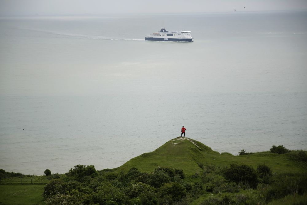 A Chinese tourist looks out from a section of the White Cliffs of Dover in south east England towards the Strait of Dover, marking the narrowest point of the English Channel which separates Britain from mainland Europe, Thursday, June 9, 2016. (AP Photo/Matt Dunham)