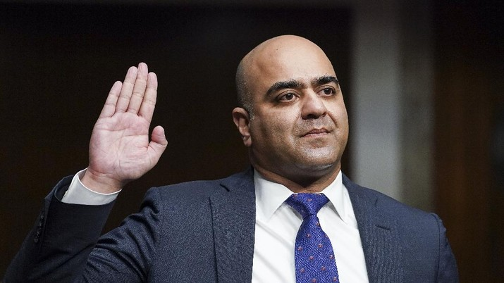 Zahid Quraishi, nominated by U.S. President Joe Biden to be a U.S. District Judge for the District of New Jersey, is sworn in during a Senate Judiciary Committee hearing on pending judicial nominations, Wednesday, April 28, 2021 on Capitol Hill in Washington.  (Kevin Lamarque/Pool via AP)