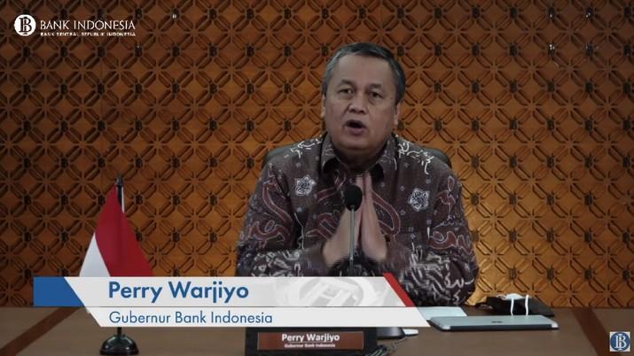 Pengumuman Hasil Rapat Dewan Gubernur Bulanan Bulan Juni 2021. (Tangkapan layar Youtube BI)