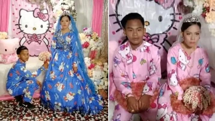 TikToker Menikah Dengan Gaun Pengantin Bertema Hello Kitty. Ist