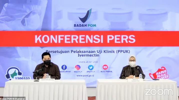 Konferensi Pers tentang Persetujuan Pelaksanaan Uji Klinik (PPUK) Ivermectin. (Tangkapan Layar Youtube Badan POM RI)