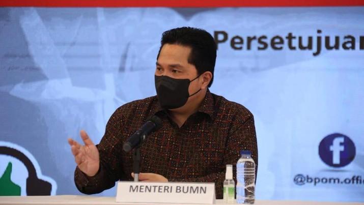 Menteri BUMN, Erick Thohir saat Konferensi Pers tentang Persetujuan Pelaksanaan Uji Klinik (PPUK) Ivermectin. (Dok. Kementerian BUMN)