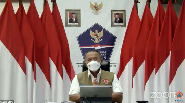 Kepala BNPB selaku Ketua Satgas Penanganan COVID-19, Letjen TNI Ganip Warsito Saat Sosialisasi Pengaturan Perjalanan Selama Pemberlakuan PPKM Darurat. (Tangkapan Layar Youtube @BNPB Indonesia)
