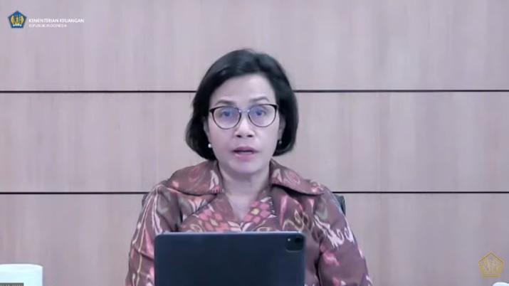 Menteri Keuangan Sri Mulyani dalam Konferensi Pers : Aspek APBN Terhadap Implementasi PPKM Darurat. (Tangkapan Layar Youtube Kementerian Keuangan)